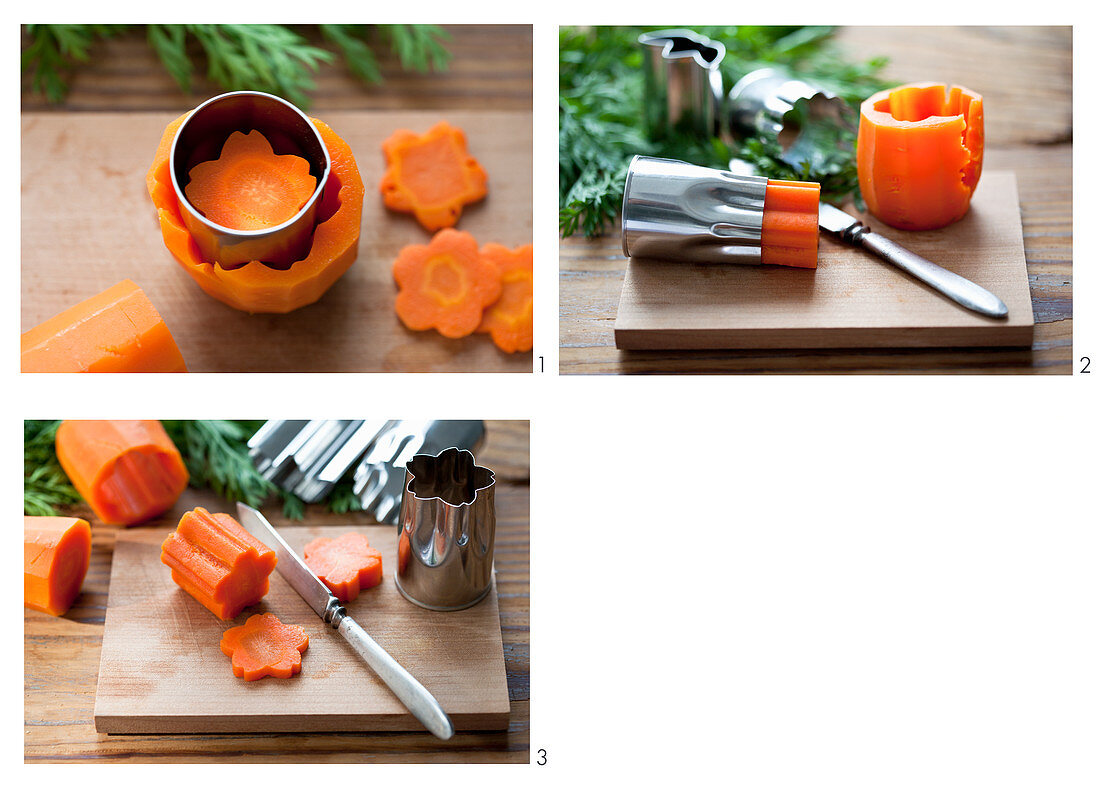 Flower shapes being cut out of carrots