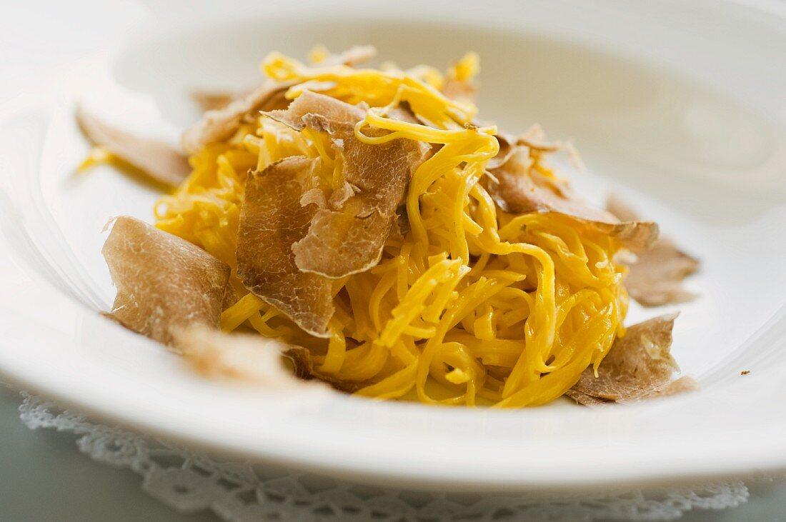 Tajarin (egg pasta with white truffles, Italy)
