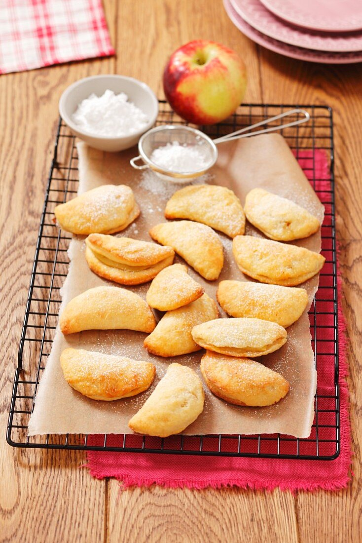 Quark turnovers with apple filling and confectioner's sugar