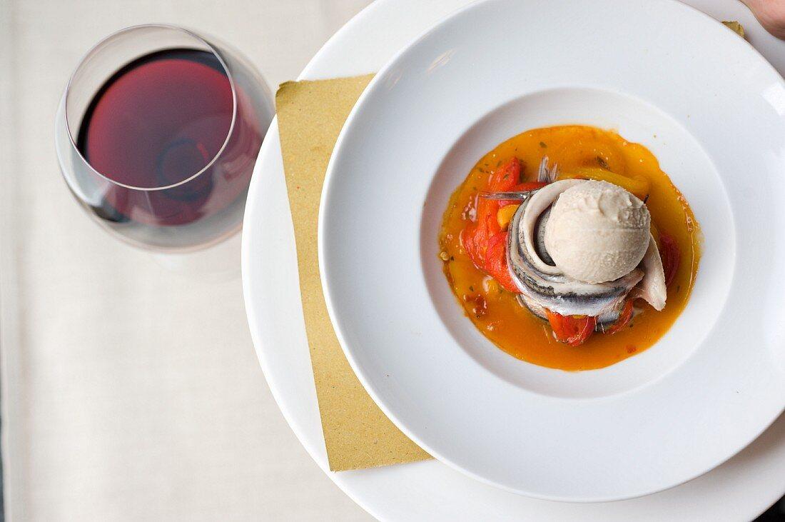 Gelato di Bagna Cauda con le sarde (spicy ice cream with fish)