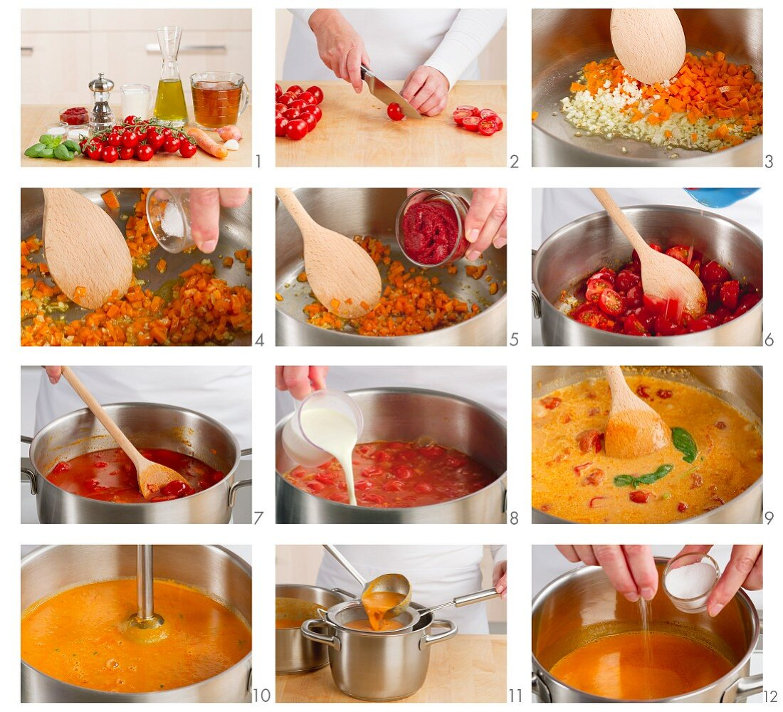 Cream of tomato soup being made