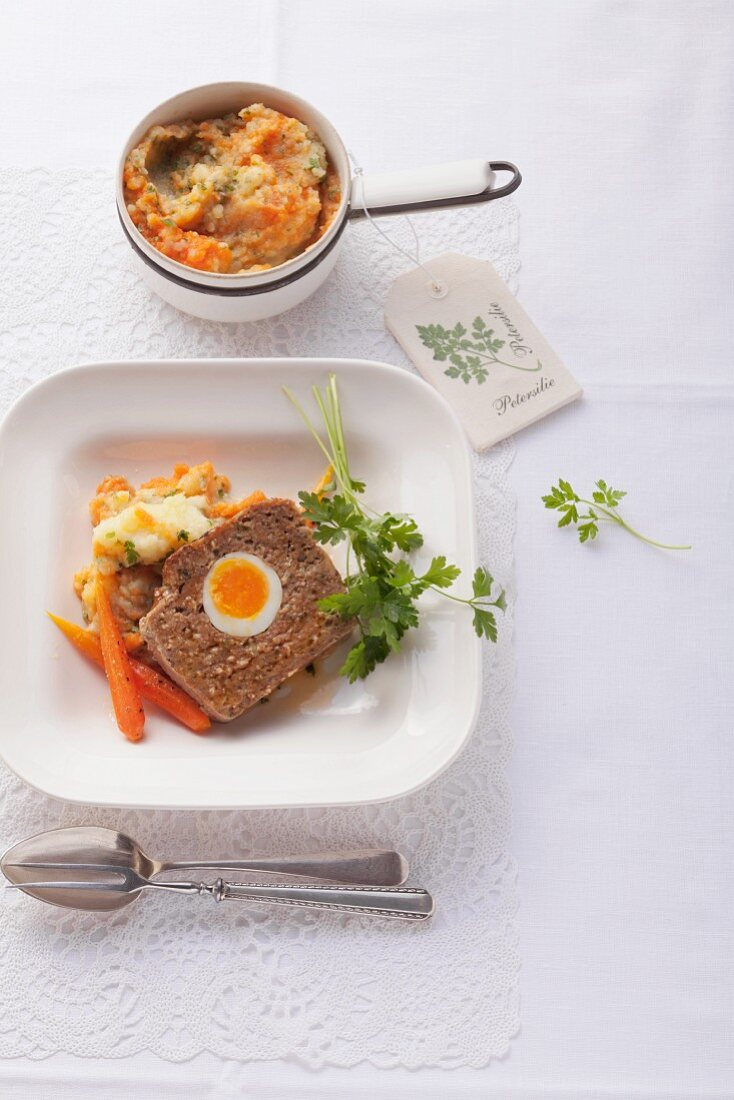 Meat loaf with potato and carrot mash