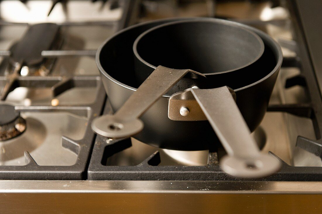 Pans on a gas cooker
