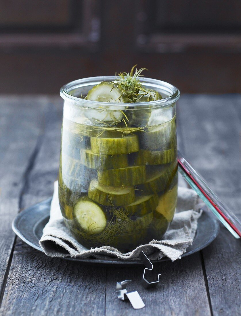 Dill gherkins in a jar
