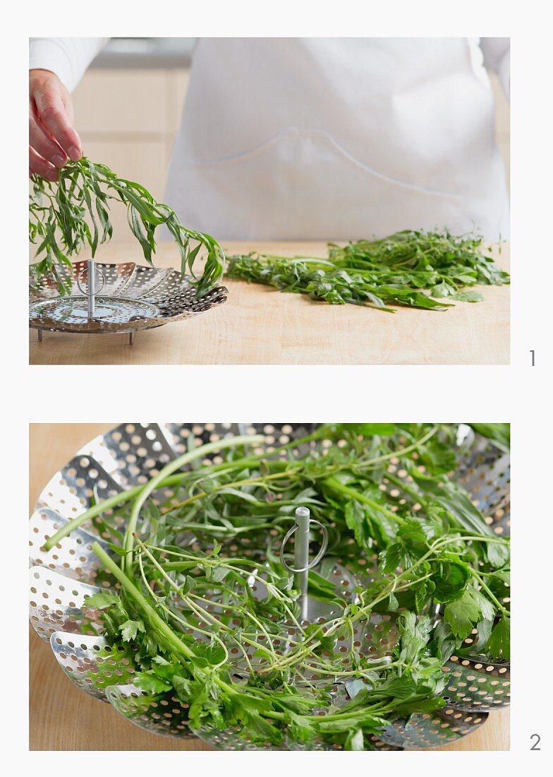 Fresh herbs in a steamer