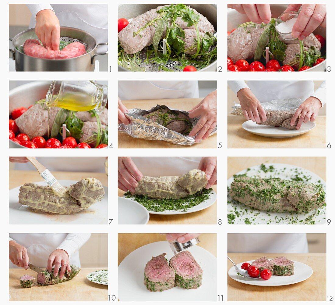 Steamed veal fillet being prepared