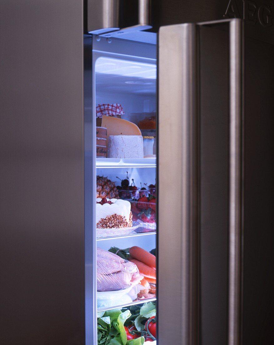 A view into a fridge