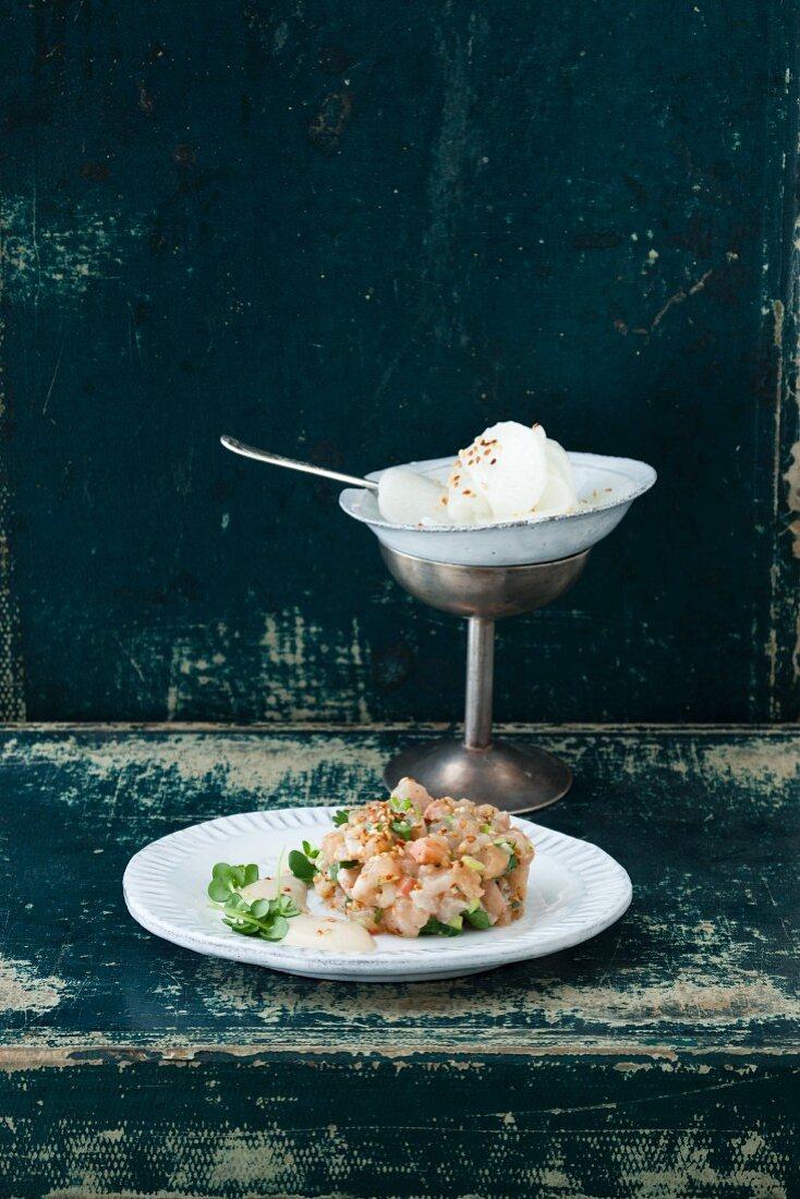 Char tatar with tofu and wasabi cream