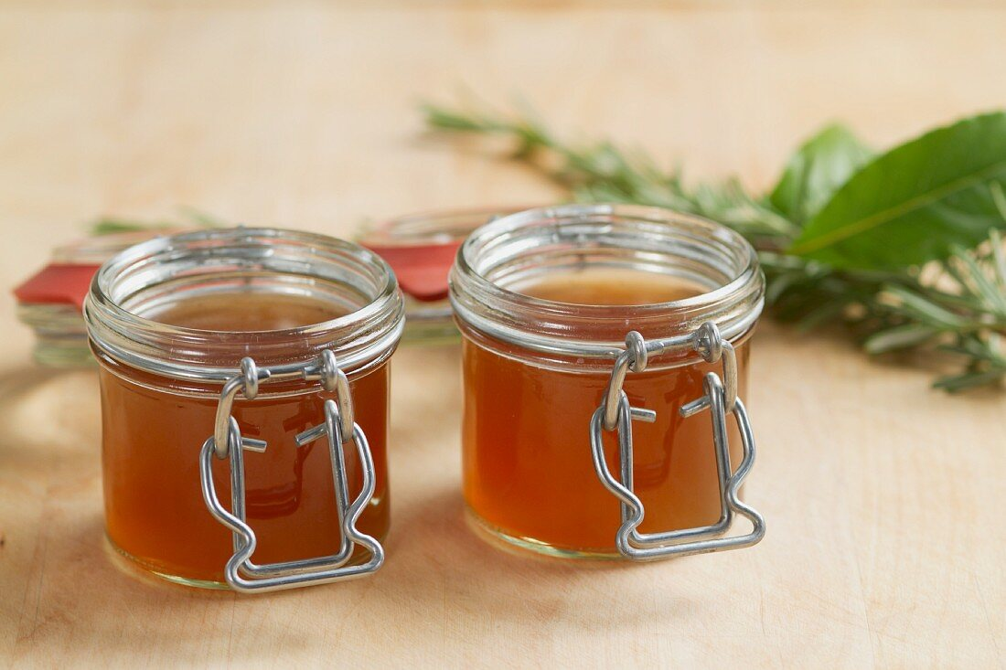 Veal stock in two jars