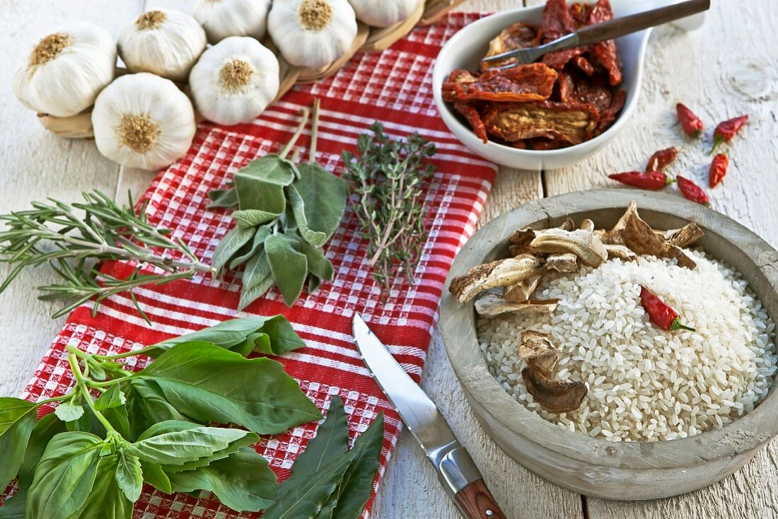 Rice, fresh herbs and spices for Tessin risotto