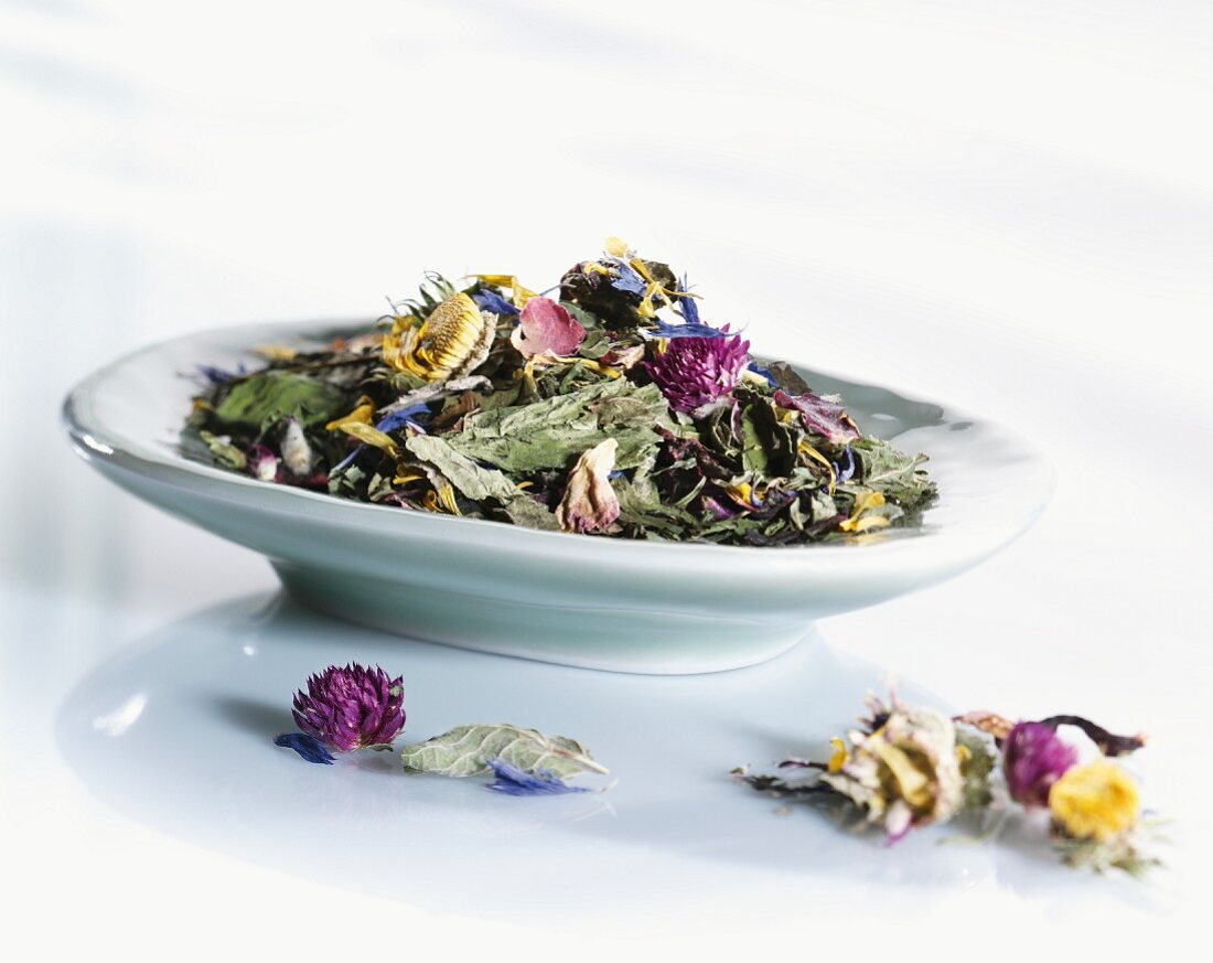 Dried herbs and flowers in a bowl