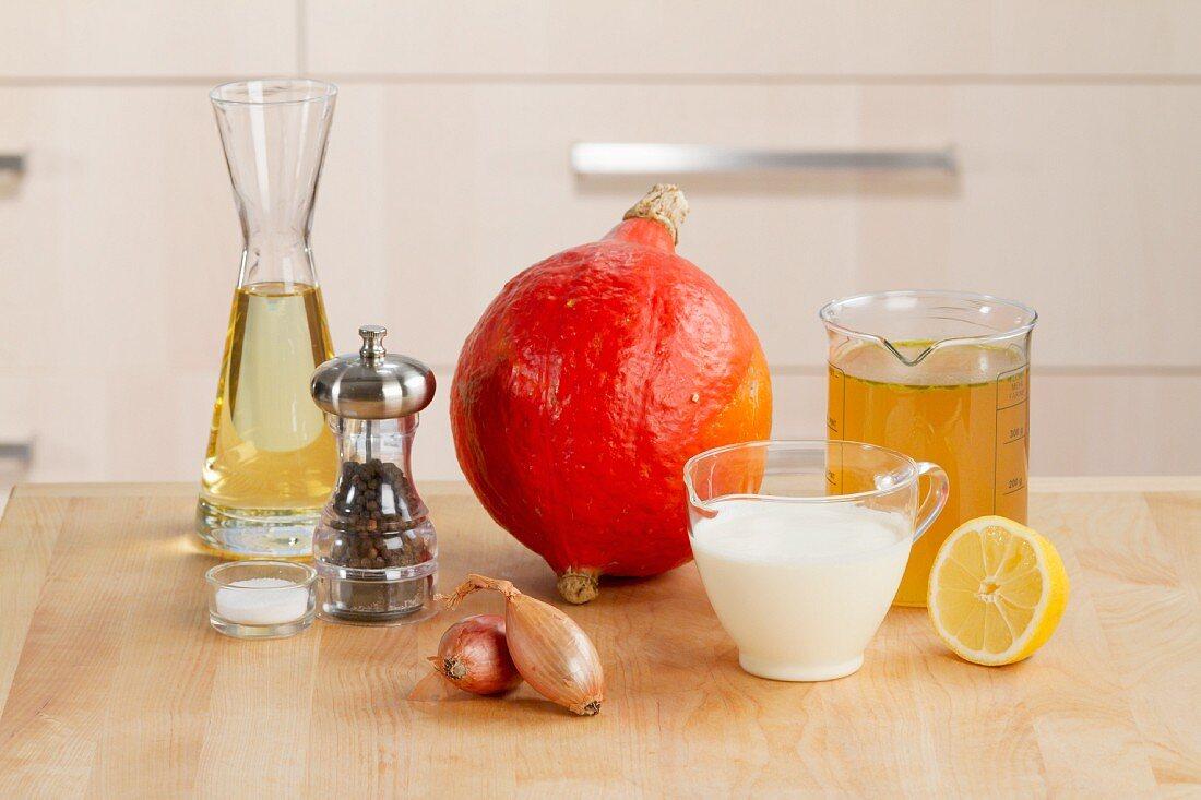 Ingredients for cream of pumpkin soup