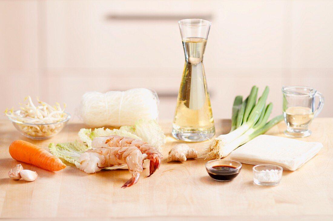 Ingredients for prawn spring rolls