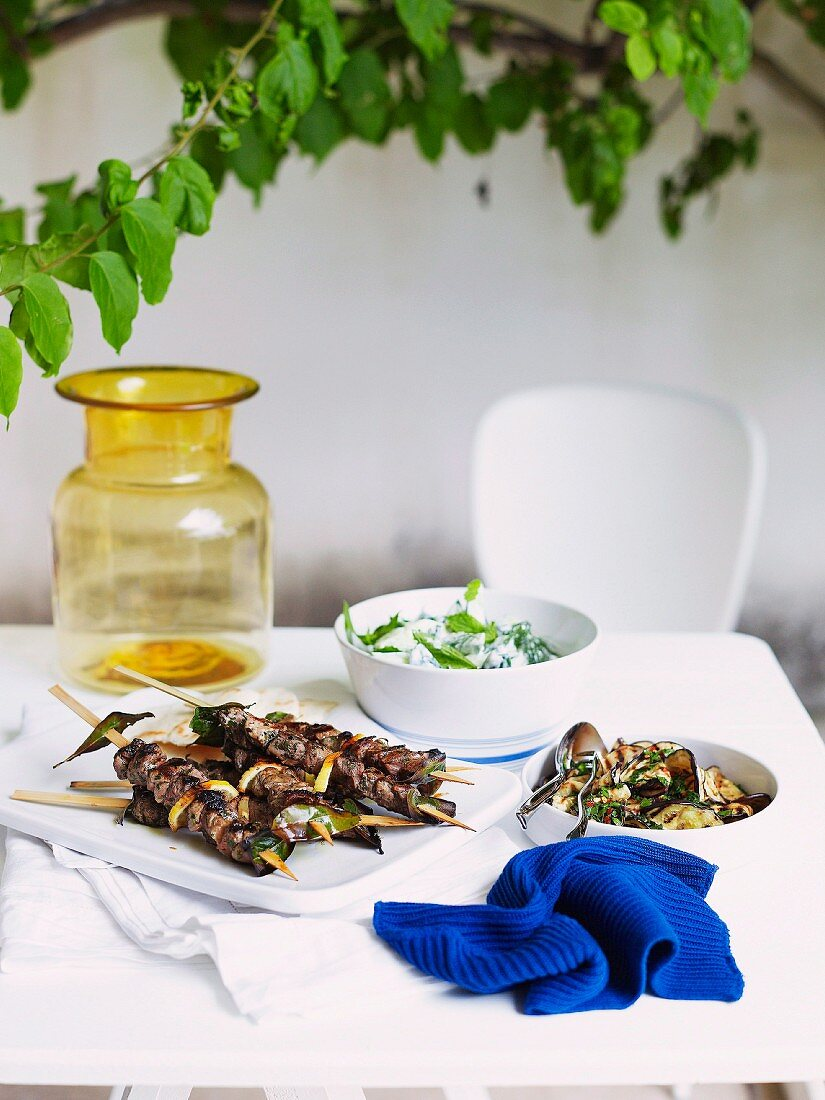 Greek lamb kebabs with cucumber yogurt and grilled aubergines