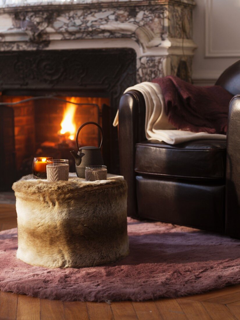 Cosy seat next to open fire