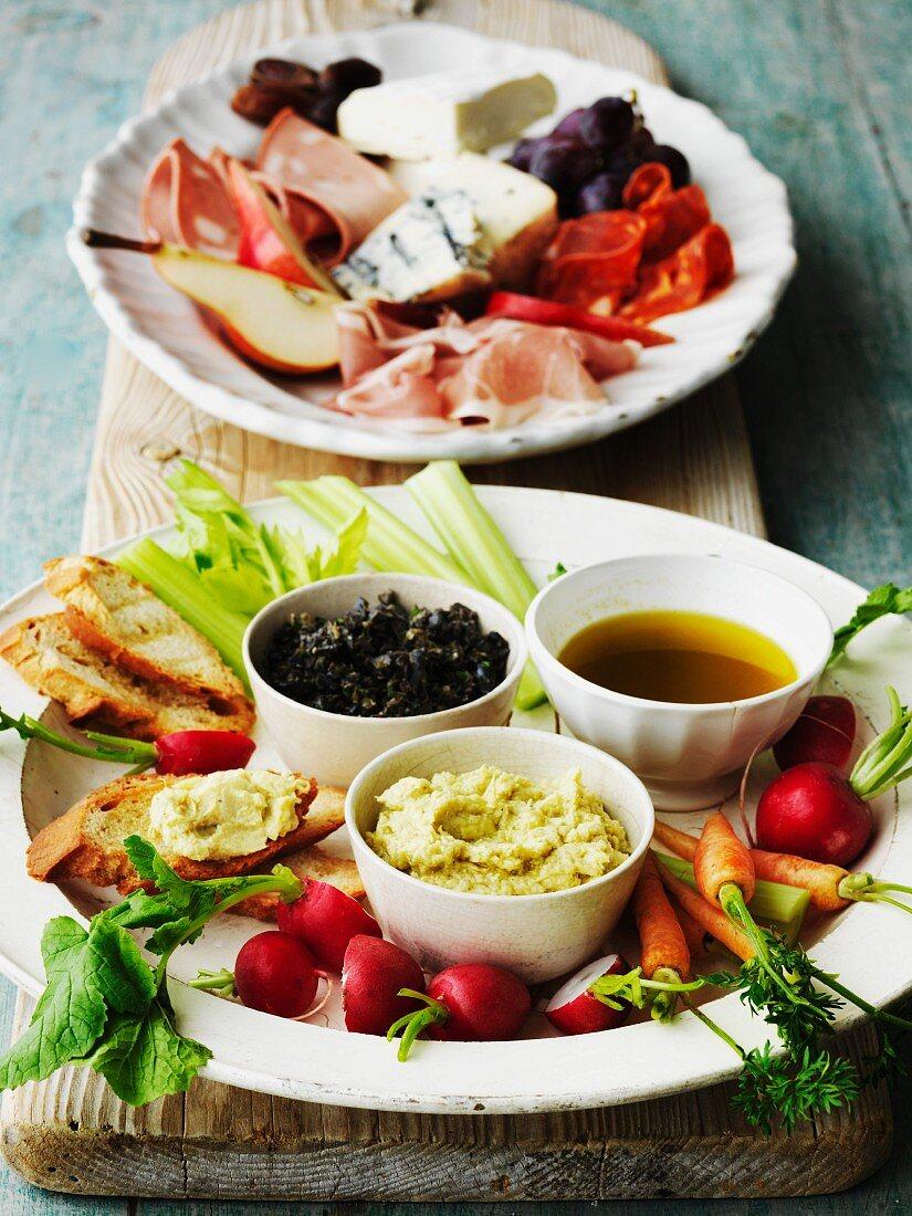 Antipasti misti (Antipasti platter with dips, Italy)