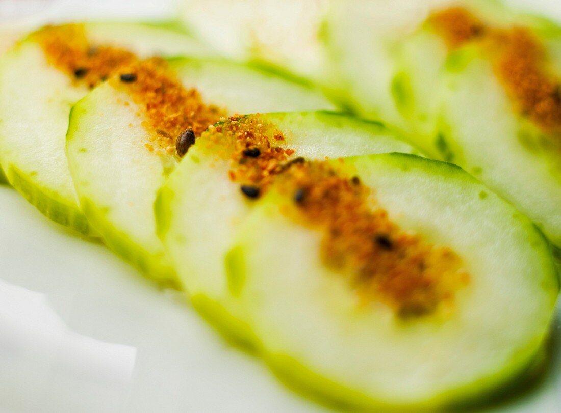 Cucumber Slices with Japanese Togarashi Powder