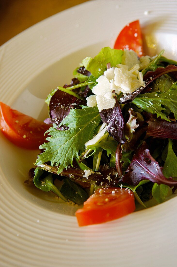 Salad with Mixed Organic Baby Greens, Tomatoes and Cheese