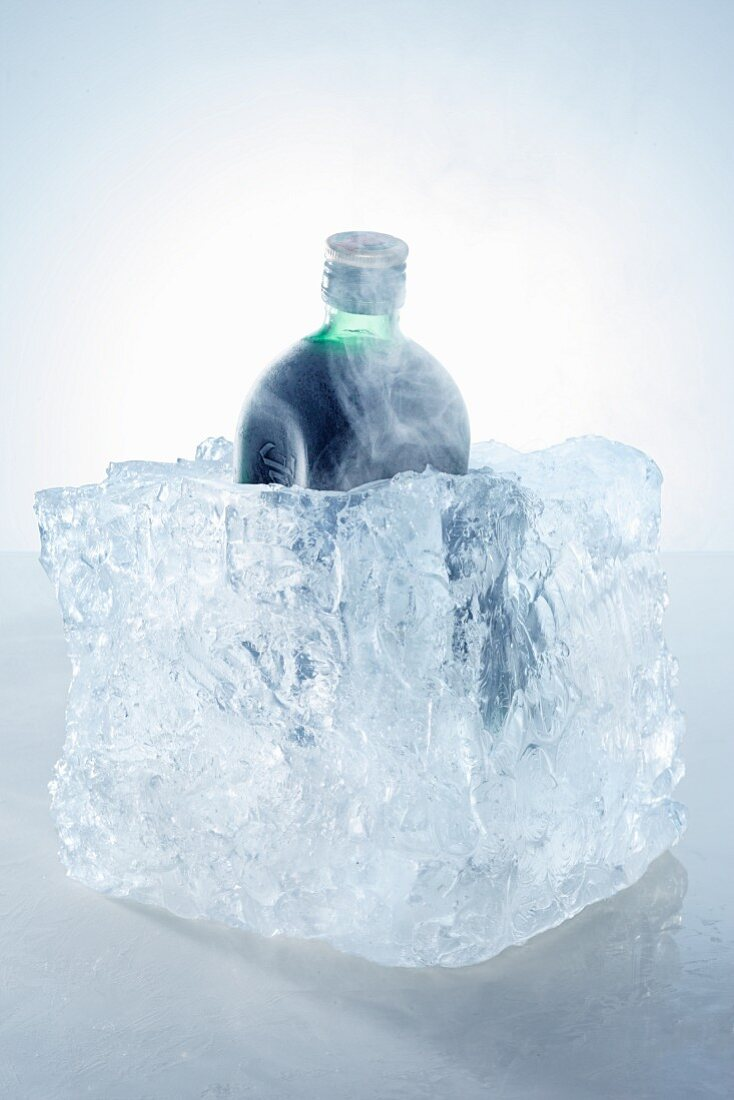 A bottle of herb schnapps in a block of ice