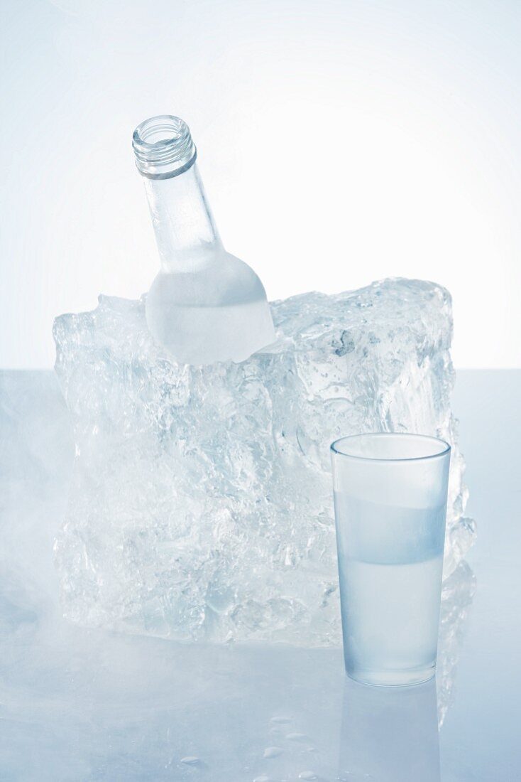A schnapps glass and a bottle of schnapps in an ice block