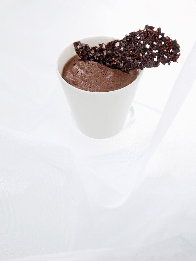 Chocolate mousse with a cocoa wafer