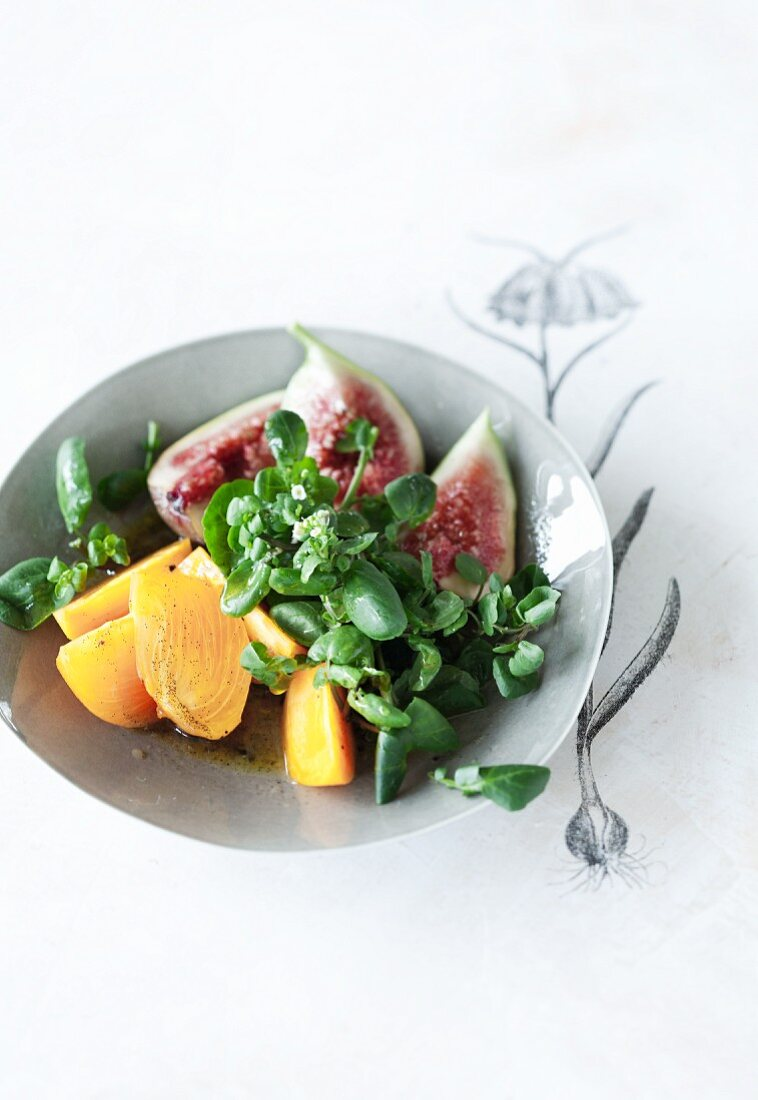 Watercress salad with a vanilla vinaigrette