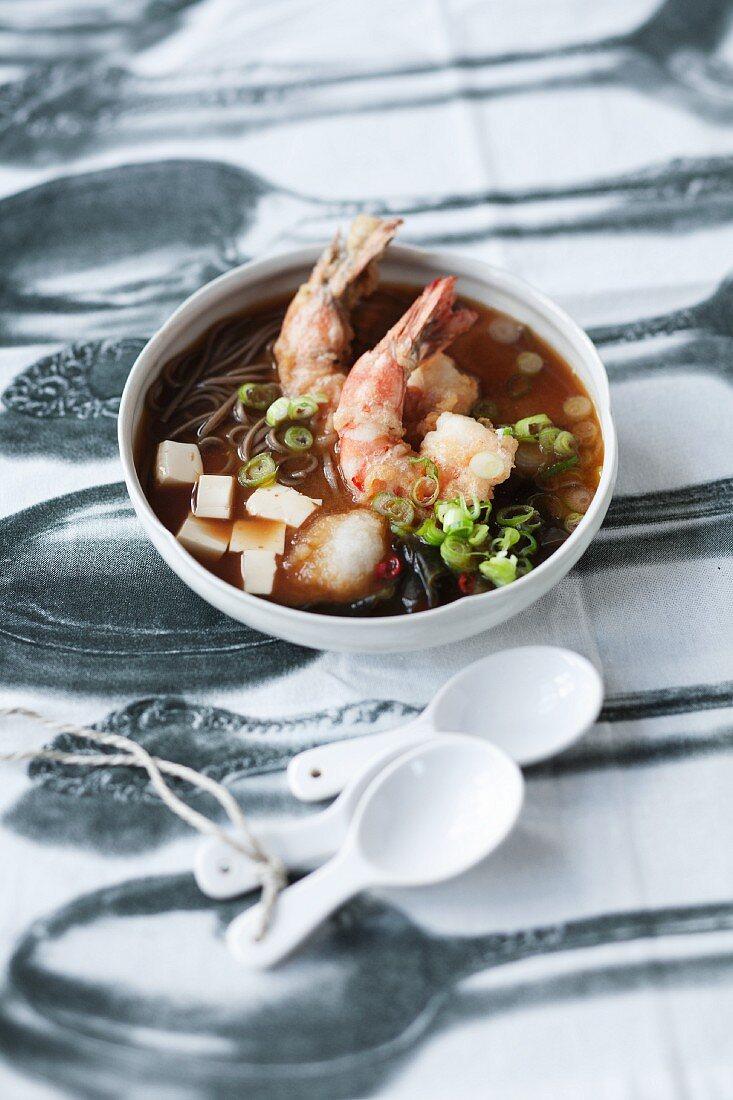 Mizo soup with prawns in tempura batter
