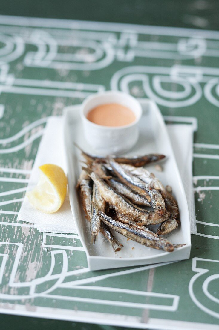 Fried sardines with rouille sauce