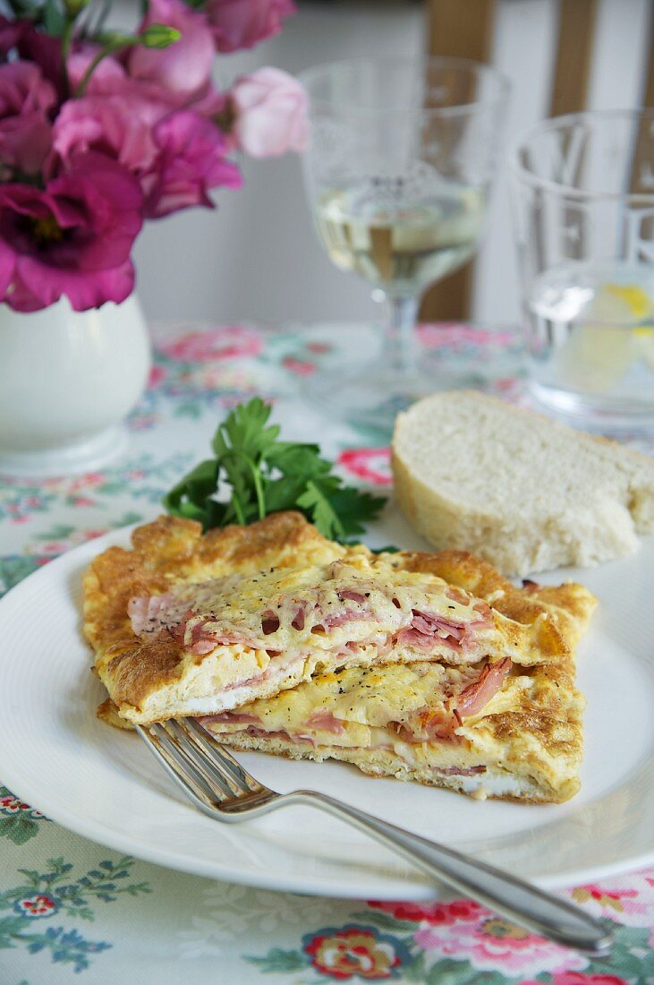 A ham and cheese and potato omelette