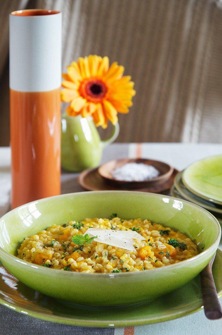 Pumpkin and barley risotto