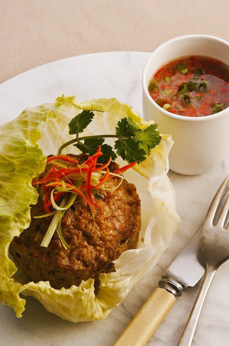 Thai style ground pork cake