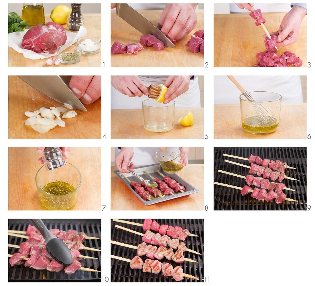 Preparing Souvlaki (Greek meat kebabs)