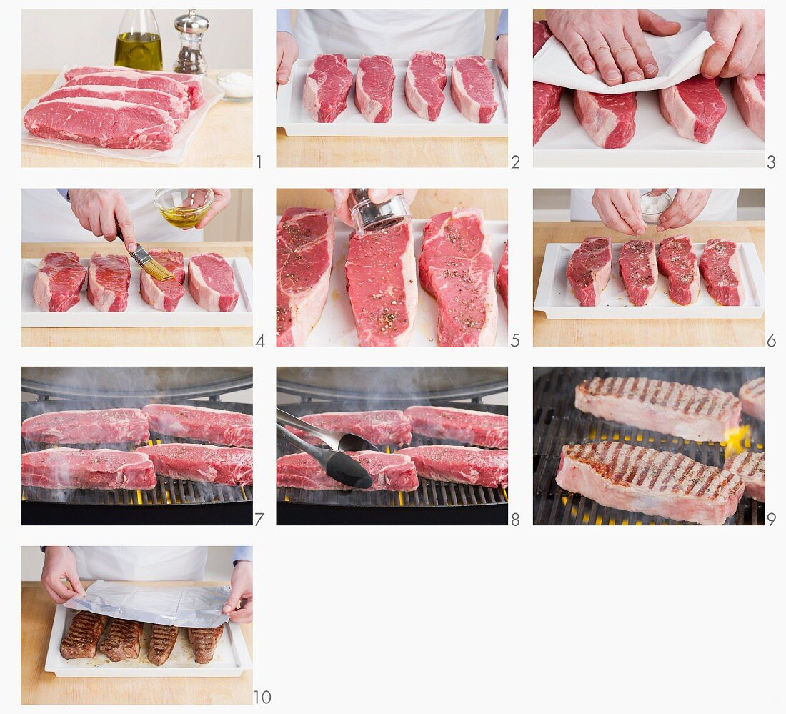 Grilled New York strip steaks being prepared