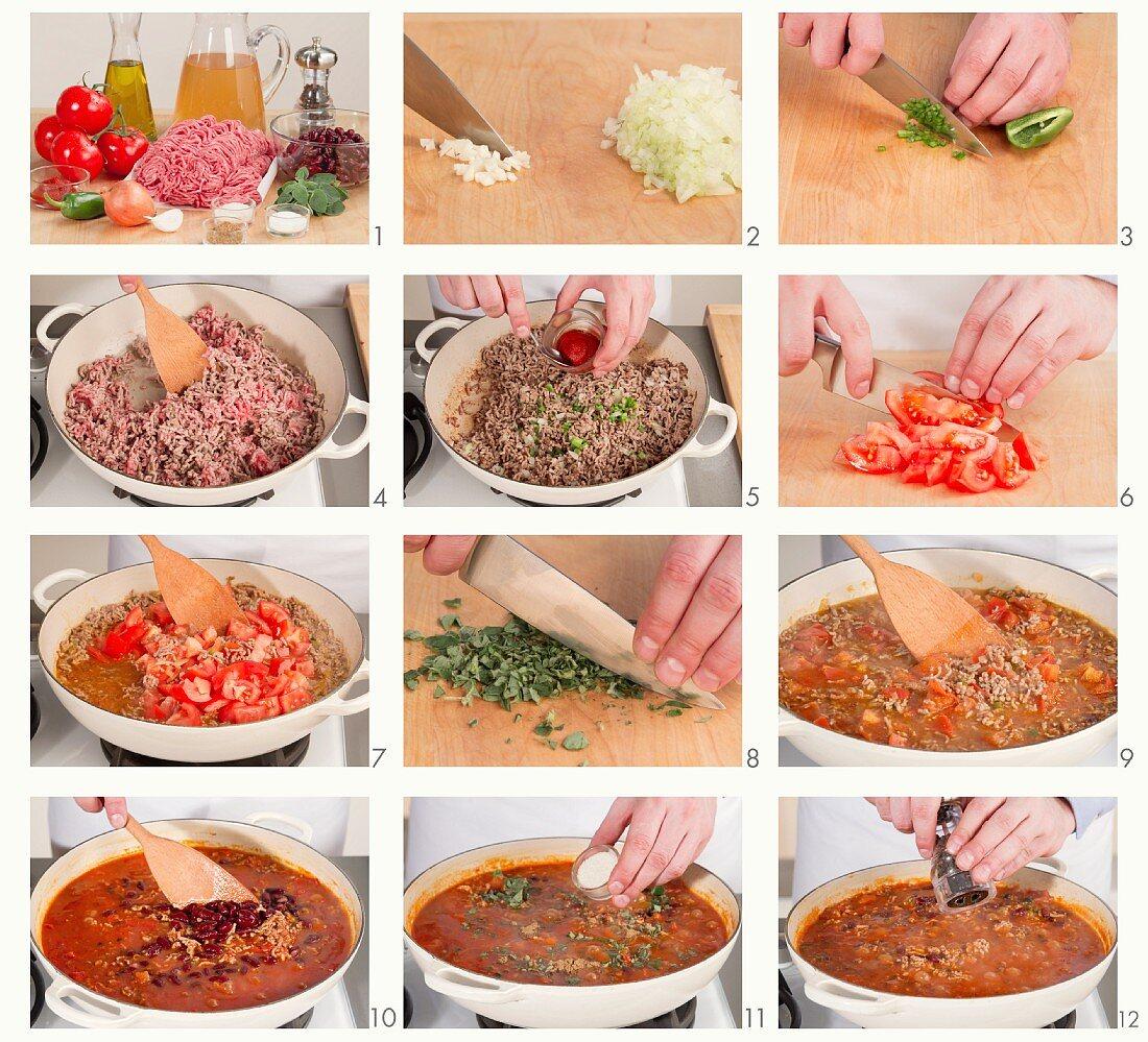Making chili con carne