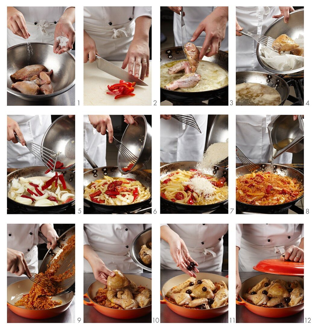 Chicken with peppers and olives (Basque Country) being prepared
