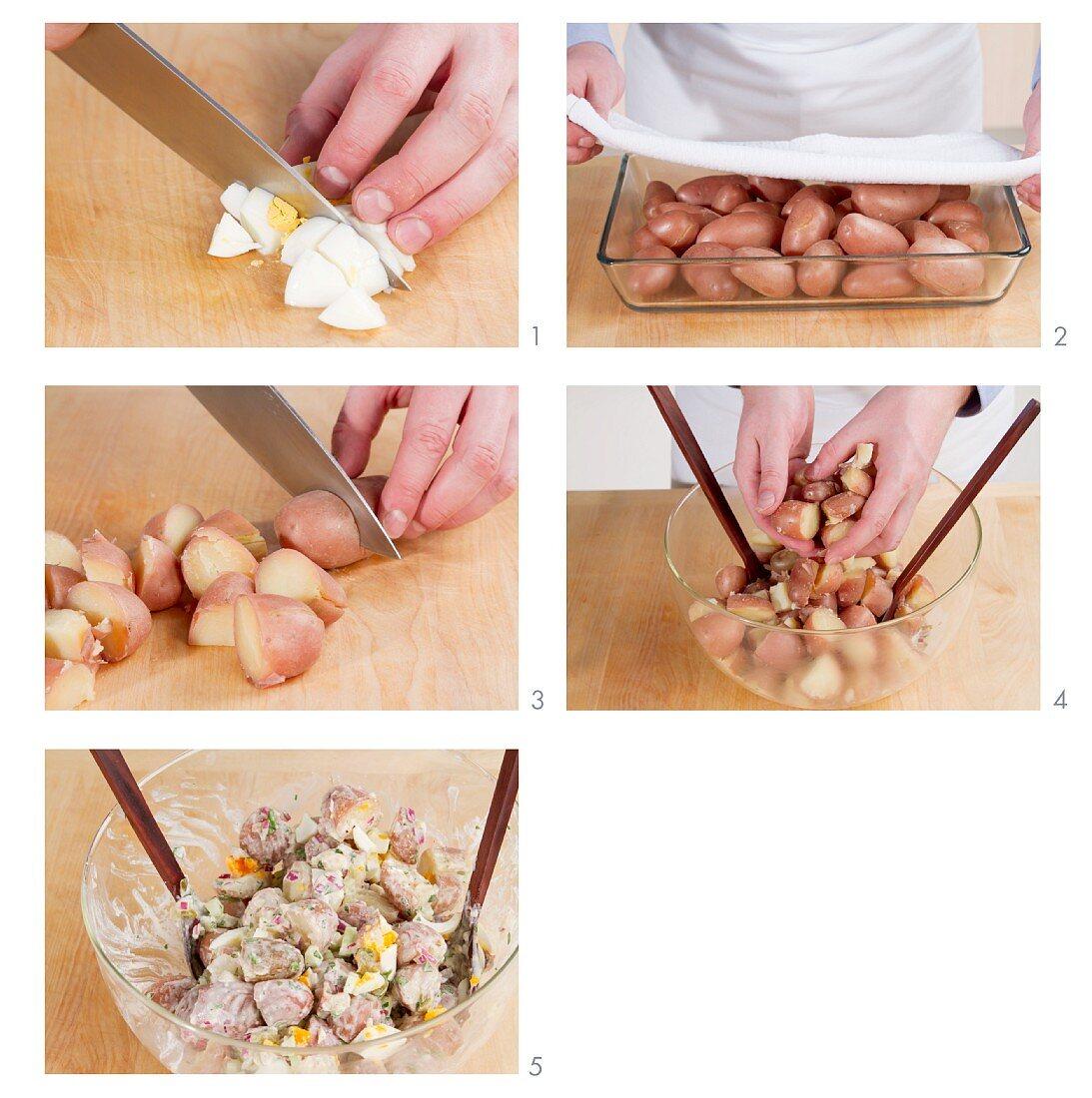 American potato salad being prepared