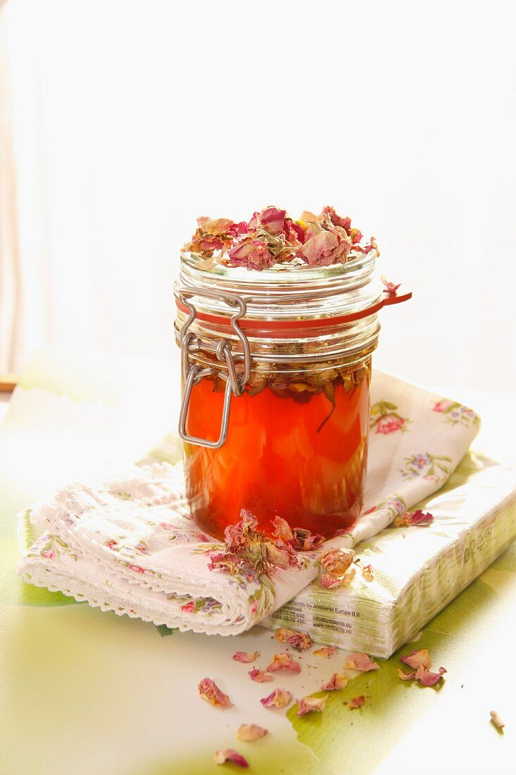 Rose jelly and dried rose petals