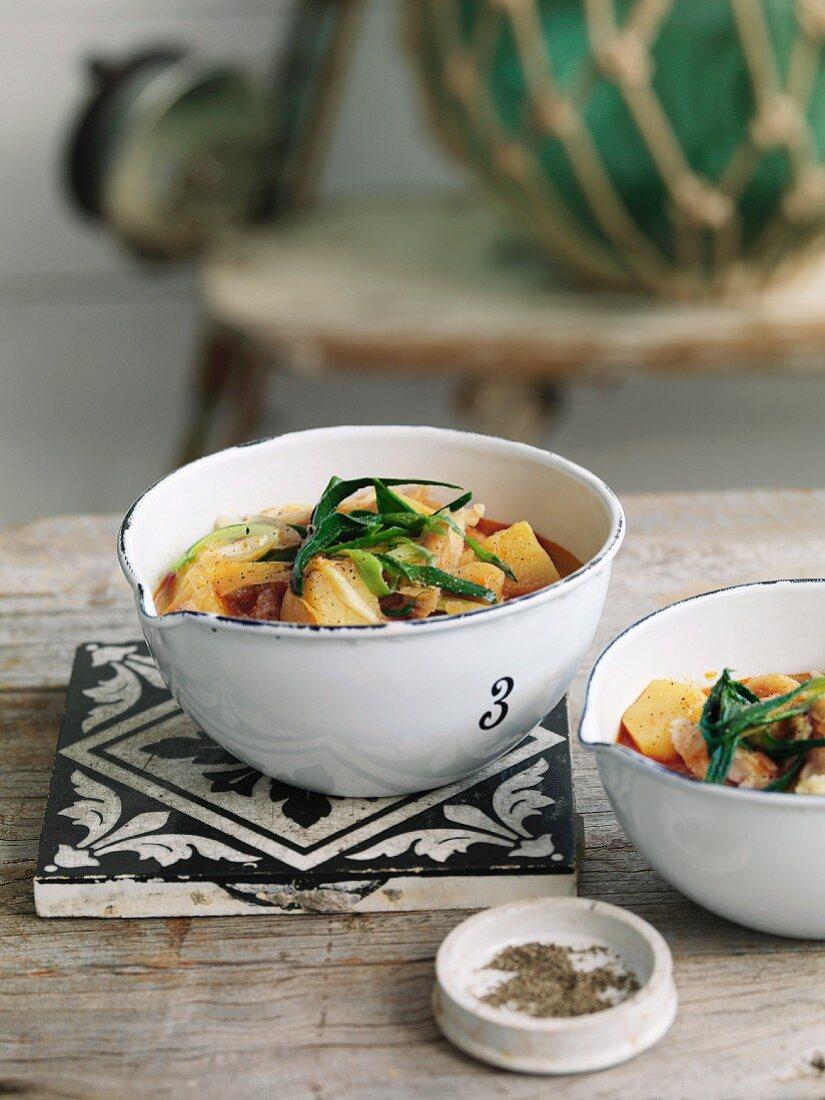 Porrusalda Vasca (stockfish and potato soup, Basque cuisine)