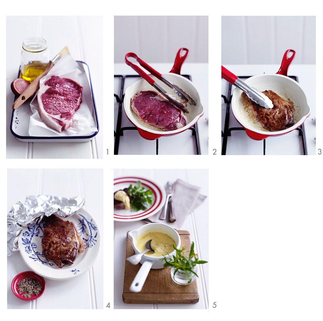Beef steak being prepared