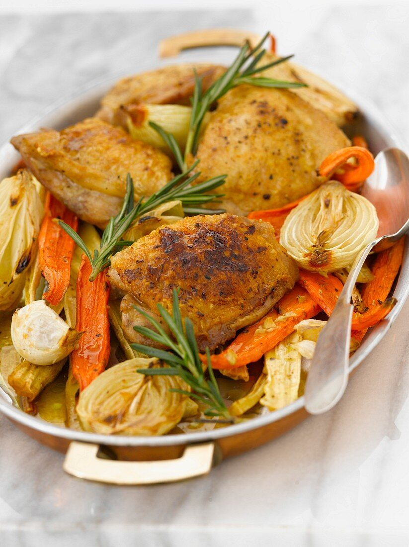 One Pot Meal; Roasted Chicken Thighs and Vegetables in a Pan
