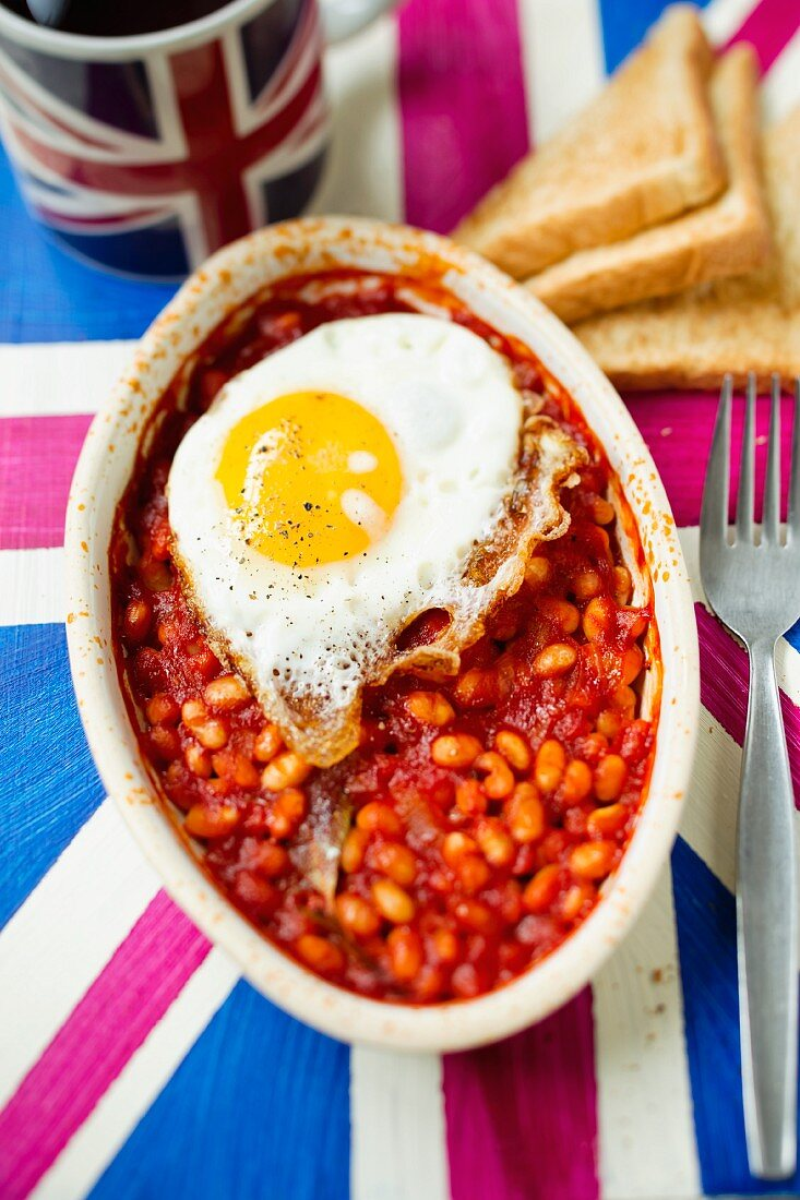 Baked beans on a Union Jack tablecloth