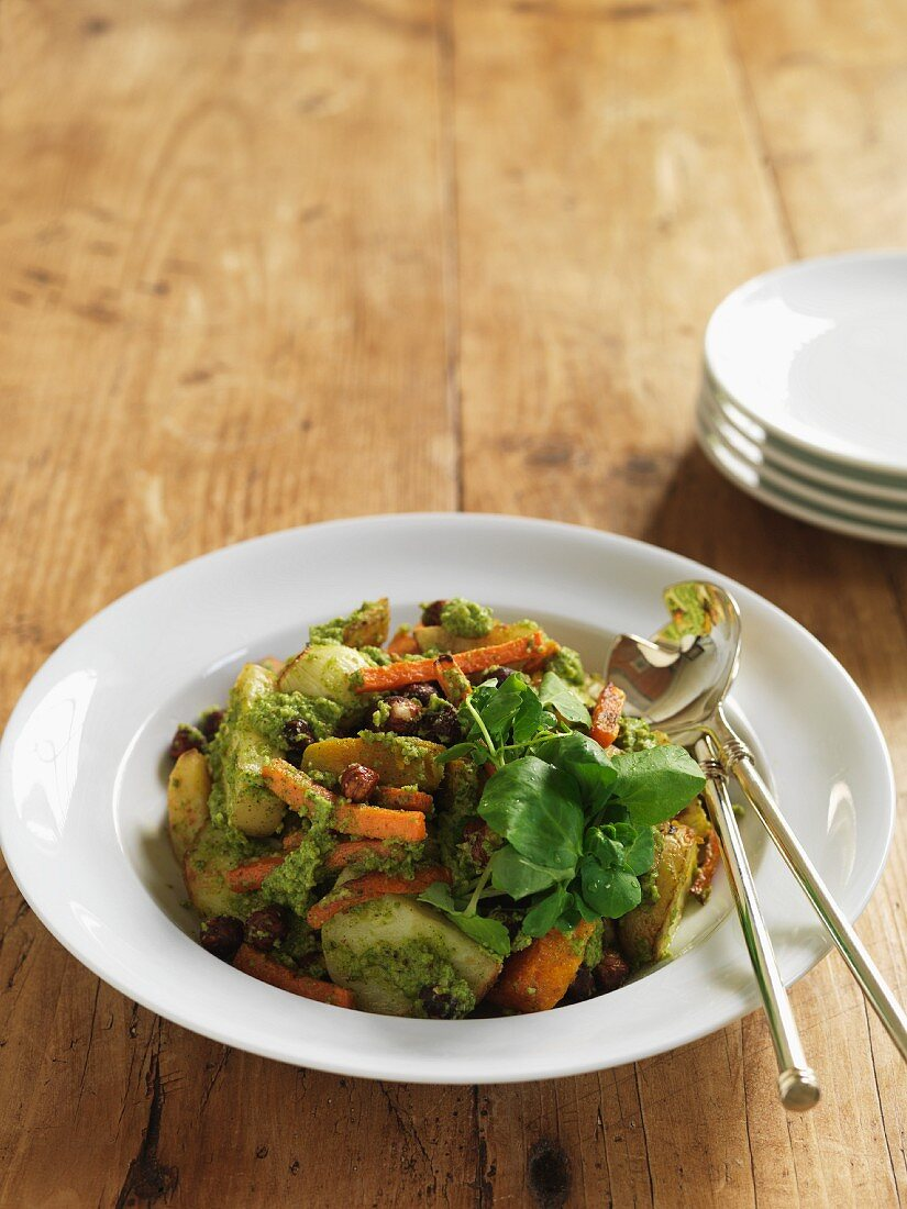 Fried vegetables with watercress pesto