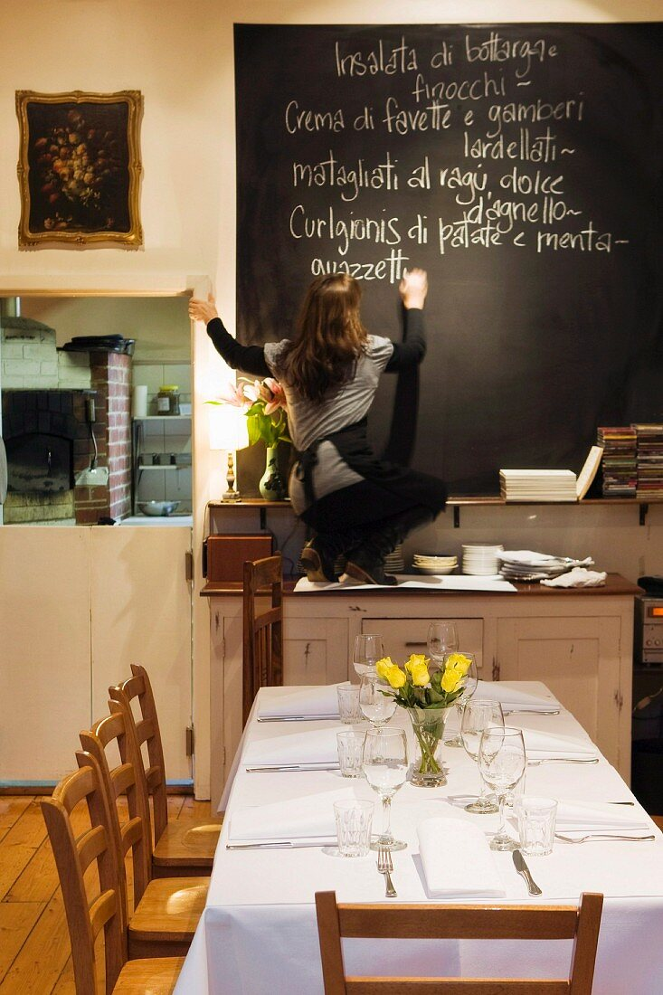 Young women writing a menu of the day