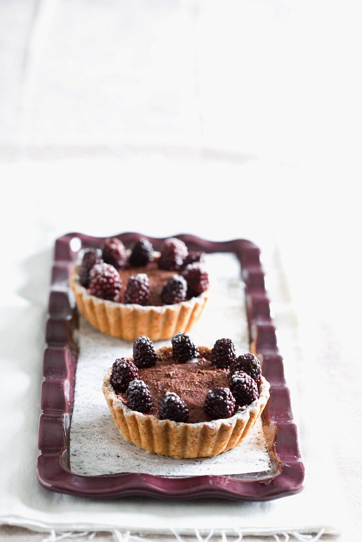 Chocolate and blackberry tartlets