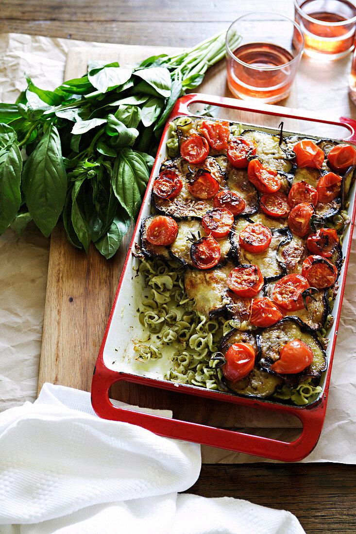 Pasta al forno (pasta bake with aubergines, tomatoes and pesto)