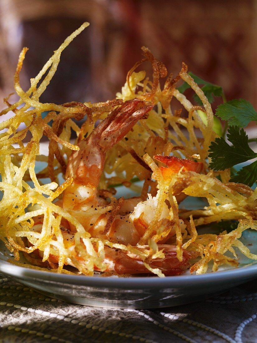 Prawns in a potato nest