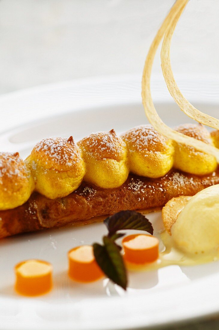 Souffléed apricots pancakes with Riesling ice cream