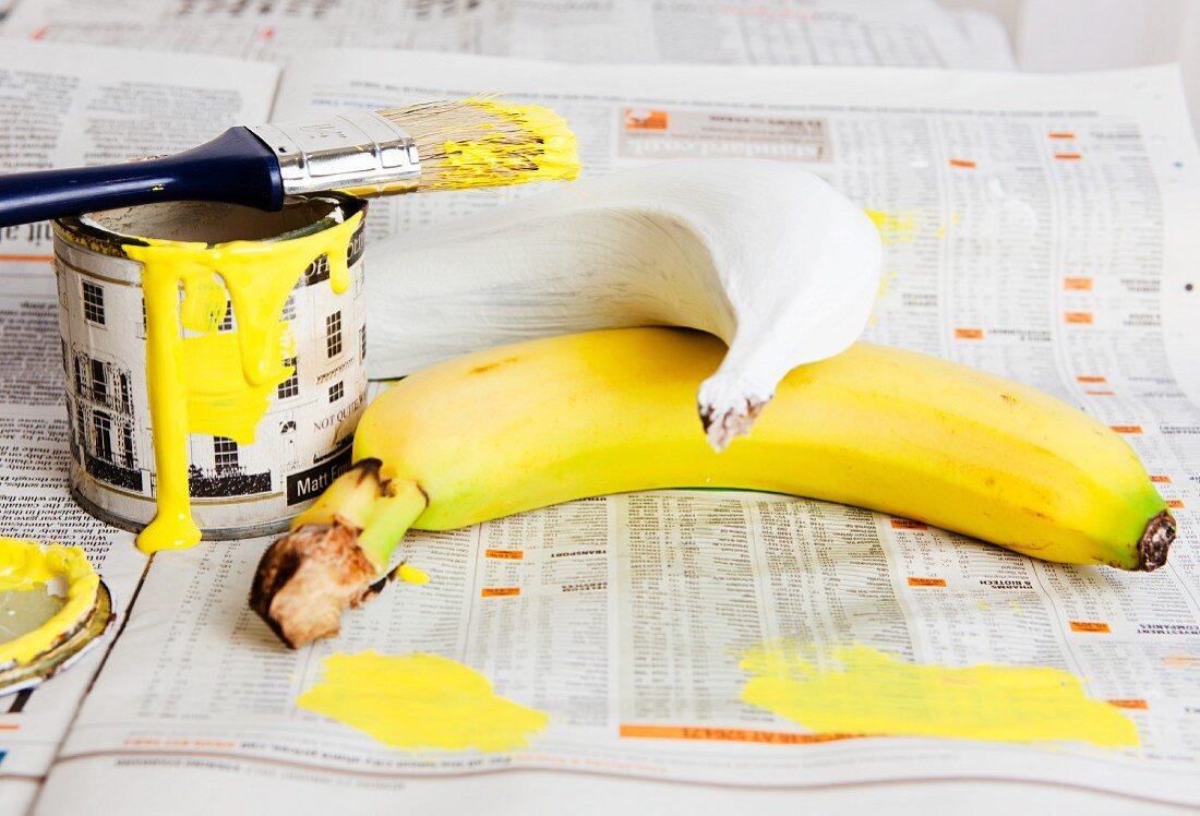 Banane mit gelber Farbe