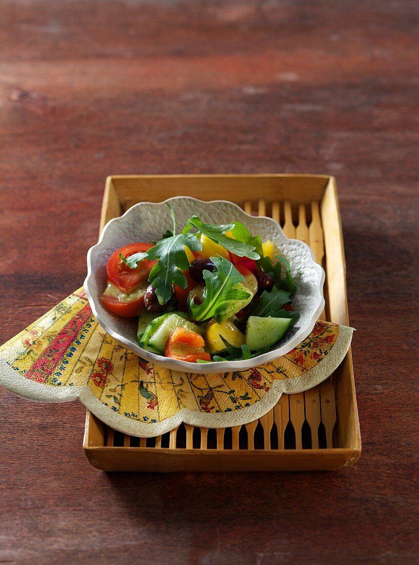 Ayurvedic summer salad with an orange curry dressing