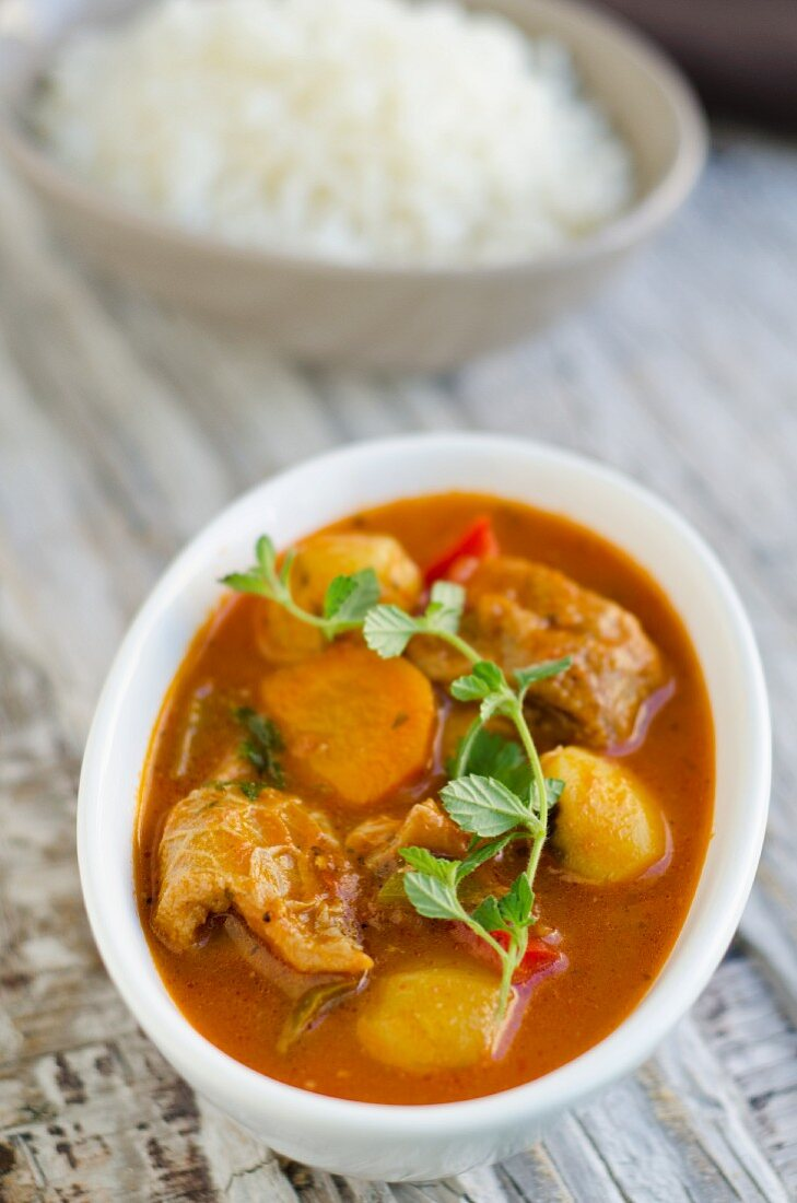 Potato stew with tripe and tomatoes (Caribbean)